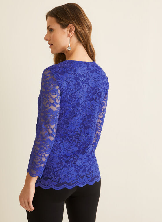 ¾ Sleeve Lace Top, Blue