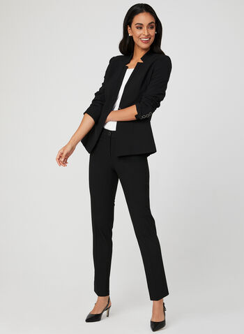 Cropped Straight Leg Pants, Black,