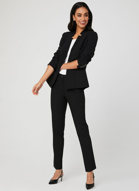 Cropped Straight Leg Pants, Black, hi-res