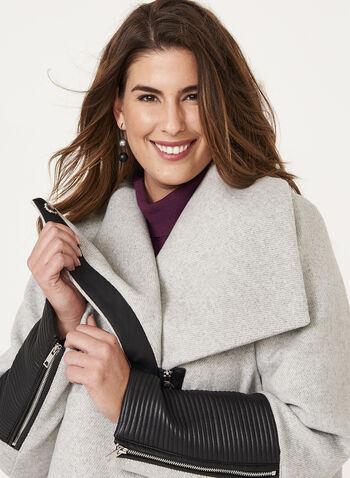 Marcona - Faux Leather Trim Wool Blend Coat, , hi-res