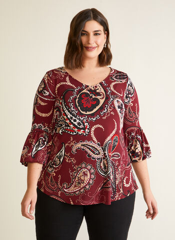 Paisley Top With Puffed Sleeves, Black,  fall winter 2020, blouse, top, paisley print, 3/4 sleeves, ruffle, v-neck, holiday