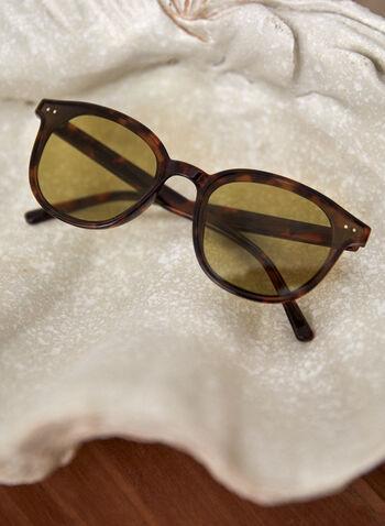 Lunettes de soleil arrondie écaille , Brun,  printemps été 2021, accessoires, lunettes de soleil, arrondie, rondes, plastique, motif, écaille