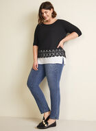 Layered Crochet Hem Top, Black