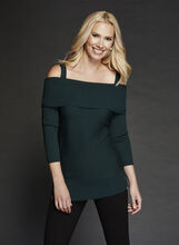 Cold Shoulder Marilyn Neck Knit Sweater, Green, hi-res