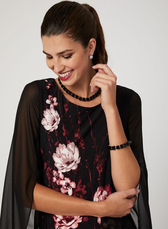 Floral Print Tulip Sleeve Dress, Black, hi-res