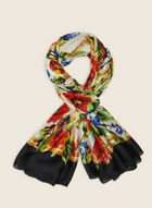 Foulard oblong fleuri à bordure contrastante, Noir