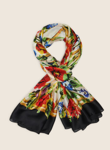 Foulard oblong fleuri à bordure contrastante, Noir,  foulard, léger, oblong, fleurs, contrastant, printemps été 2020