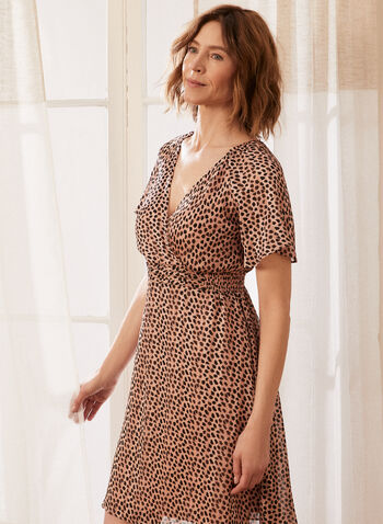 Cheetah Print Crossover Dress, Red,  spring summer 2021, dress, cheetah print, animal print, muslin, short sleeve, cross over collar, v neck, back zip closure, hidden back zip, smock waist