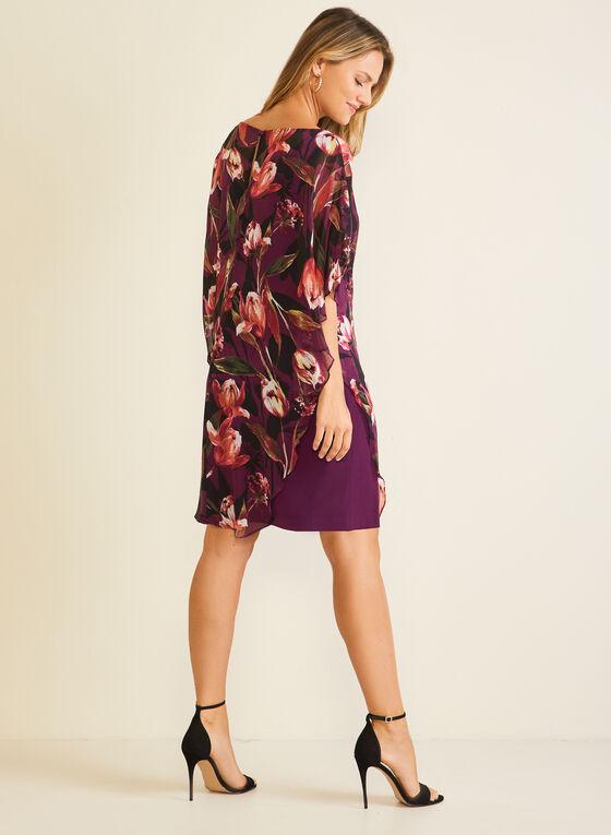 Floral Print Chiffon Poncho Dress, Purple