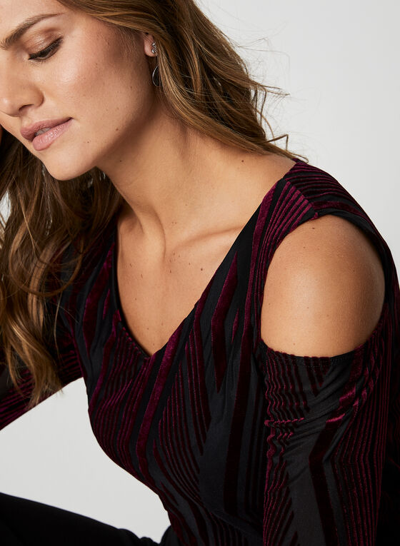 Cold Shoulder Burnout Velvet Top, Red