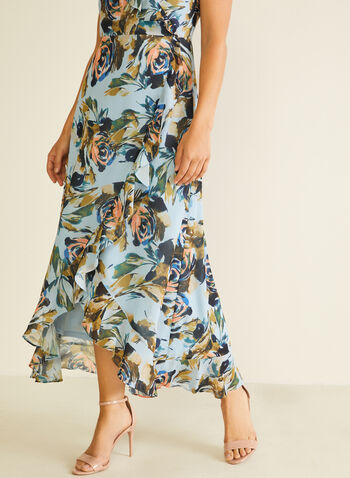 Floral Print Faux Wrap Dress, Blue,  day dress, floral, chiffon, ruffled, wrap, v-neck, tulip hemline, spring summer 2020