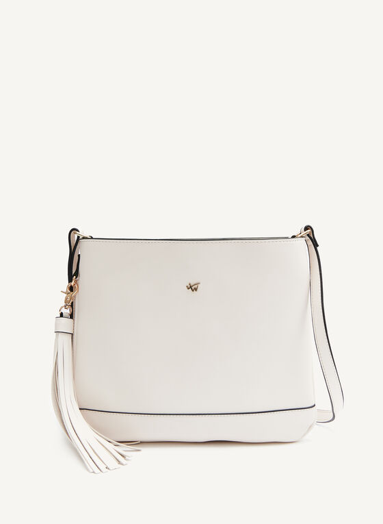 Crossbody Bag With Removable Tassel, Off White, hi-res