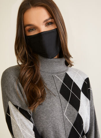 Set of 2 Masks, Black,  masks, cotton, floral lace, monochrome, adjustable, filter, set, fall winter 2020
