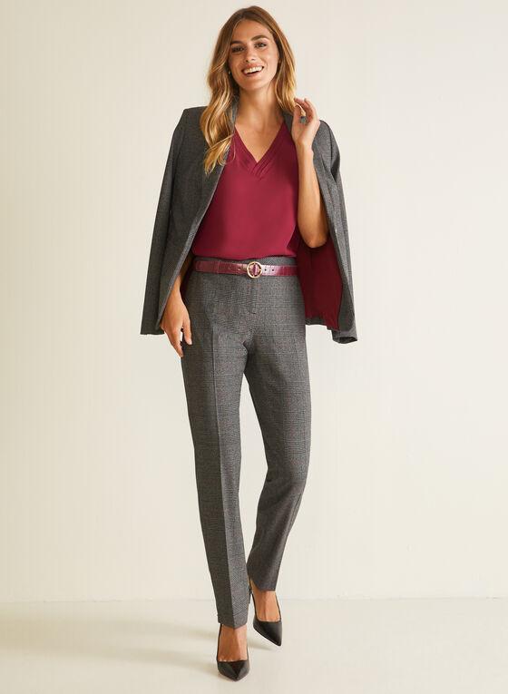 Tartan Print Modern Fit Pants, Red