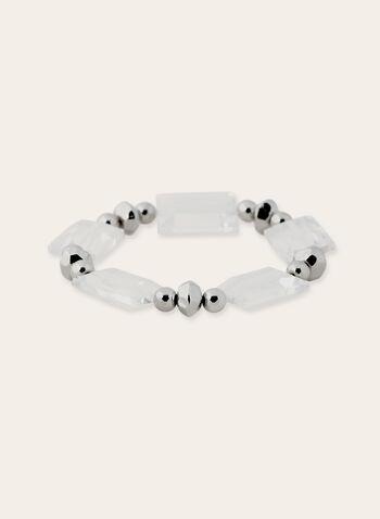 Trio de bracelets extensibles avec pierres, perles et pompon, Argent, hi-res