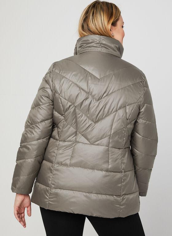 Manteau en duvet à col montant, Brun, hi-res