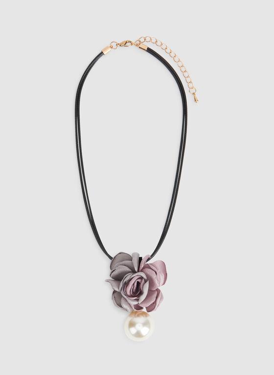 Collier court à pendant fleur et perle, Blanc cassé, hi-res