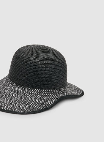 Straw Cloche Hat, Black, hi-res