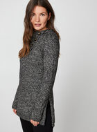 Split Neck Tunic Sweater, Black