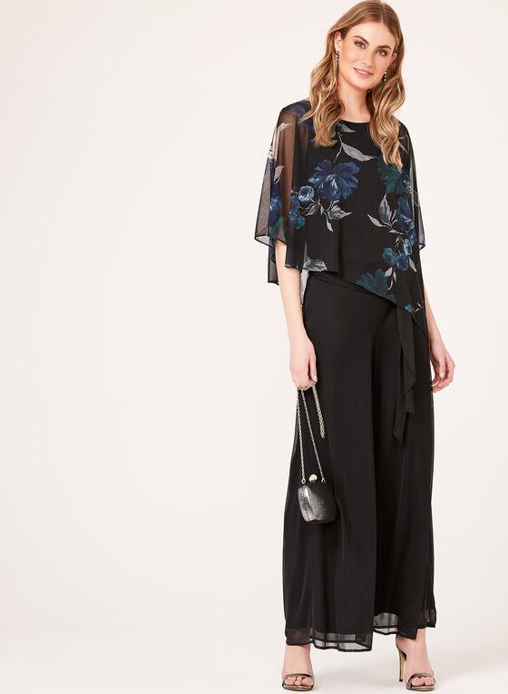 Asymmetric Floral Print Poncho Blouse, Black, hi-res