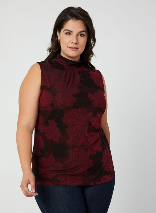 Floral Mock Neck Top, Red, hi-res