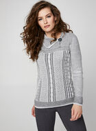 Detailed Cable Front Sweater, Grey