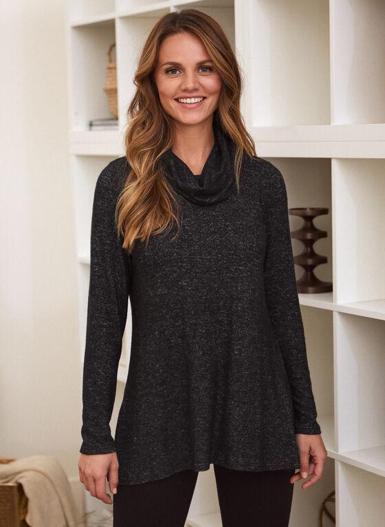 Cowl Neck Knit Tunic, Grey