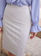 Tartan Print Straight Skirt, Grey