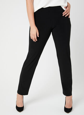 Pantalon coupe moderne à jambe droite, Noir, hi-res,  pull-on, jersey, printemps 2019