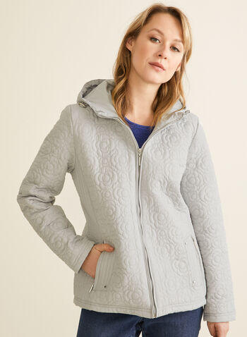 Weatherproof - Hooded Floral Quilted Coat, Grey,  coat, quilted, floral, hood, zipper, pockets, spring summer 2020