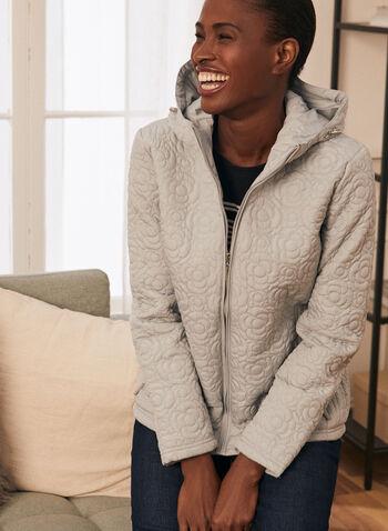 Weatherproof - Manteau matelassé floral à capuchon, Gris,  manteau, matelassé, fleurs, capuchon, zip, poches, printemps été 2020