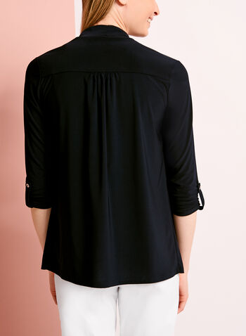 3/4 Sleeve Jersey Cardigan, Blue, hi-res