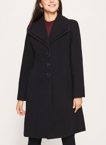 Wool Like Double Collar Coat, Black, hi-res