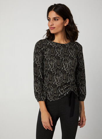 Animal Print Top, Black, hi-res,  Canada, top, animal print, drawstring, long sleeves, fall 2019, winter 2019