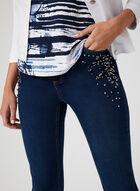 GG Jeans - Jean coupe moderne à strass, Bleu, hi-res