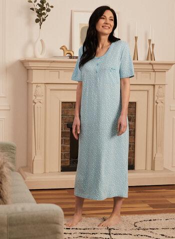 Robe de nuit à manches courtes , Bleu,  printemps été 2021, pyjama, robe, nuit, étoiles, manches courtes, poche, nœud, boutons