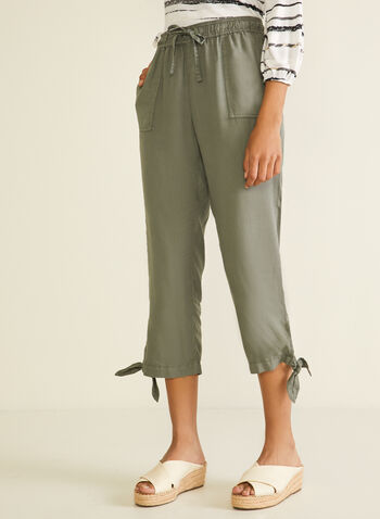 Blossom - Knot Detail Tencel Capris, Green,  capris, pull-on, tencel, pockets, drawstring, knot detail. spring summer 2020