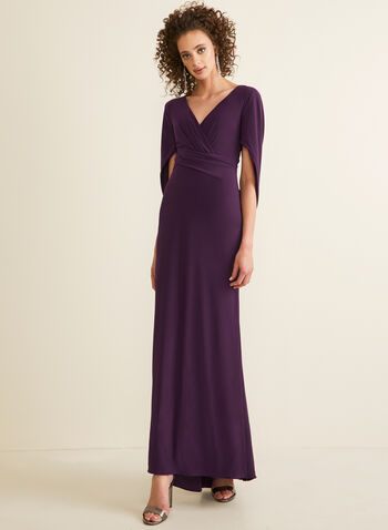Cowl Sleeve V-Neck Gown, Purple,  dress, evening, cowl, drape, gown, v-neck, wrap, column, jersey, spring summer 2020