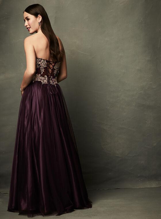 Robe corset avec appliqués dorés et strass, Rouge, hi-res