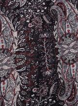 Leaf Print Oblong Scarf, Black, hi-res
