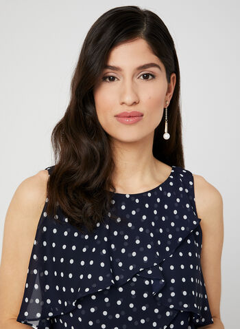 Polka Dot Print Tiered Dress, Blue, hi-res,  Sleeveless, chiffon, spring 2019
