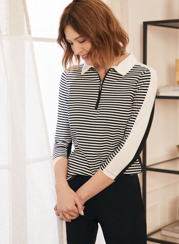 Striped Zipper Detail T-Shirt, White,  t-shirt, zipper, v-neck, shirt collar, striped, 3/4 sleeves, contrast, spring summer 2020