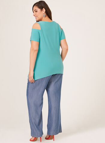 Cold Shoulder Jersey Tunic, Blue, hi-res