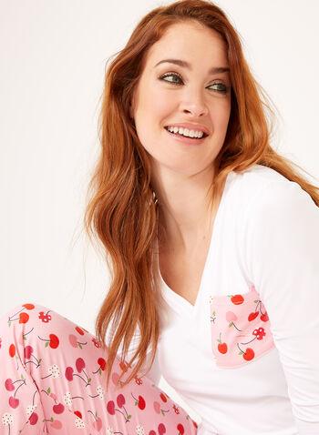 IB Diffusion – Cherry Print Pajama Set, Pink, hi-res