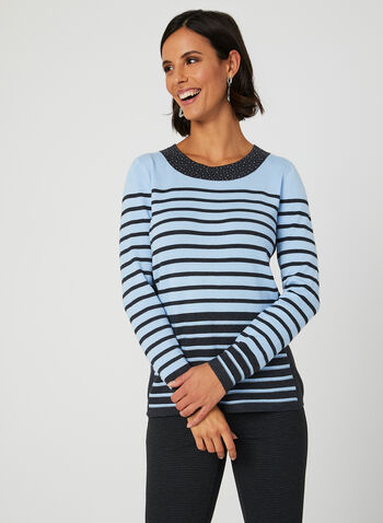 Long Sleeve Stripe Print Top, Grey, hi-res