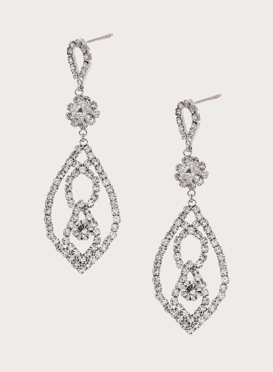 Triple Tier Crystal Earrings, Silver, hi-res