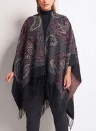 Paisley Print Poncho, Purple, hi-res