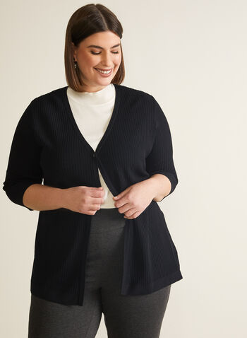 Single-Button Rib Knit Cardigan, Black,  cardigan, rib knit, ribbed, stretchy, button, 3/4 sleeves, v-neck, spring summer 2020