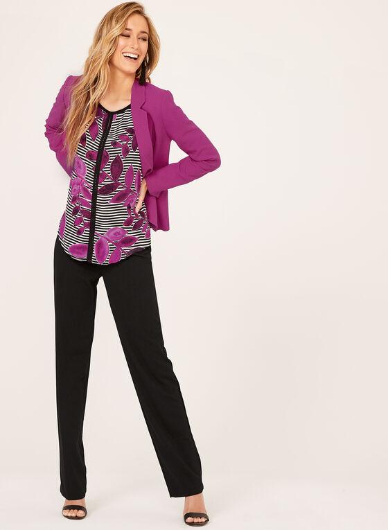 Pantalon coupe moderne à jambe large en crêpe, Noir, hi-res