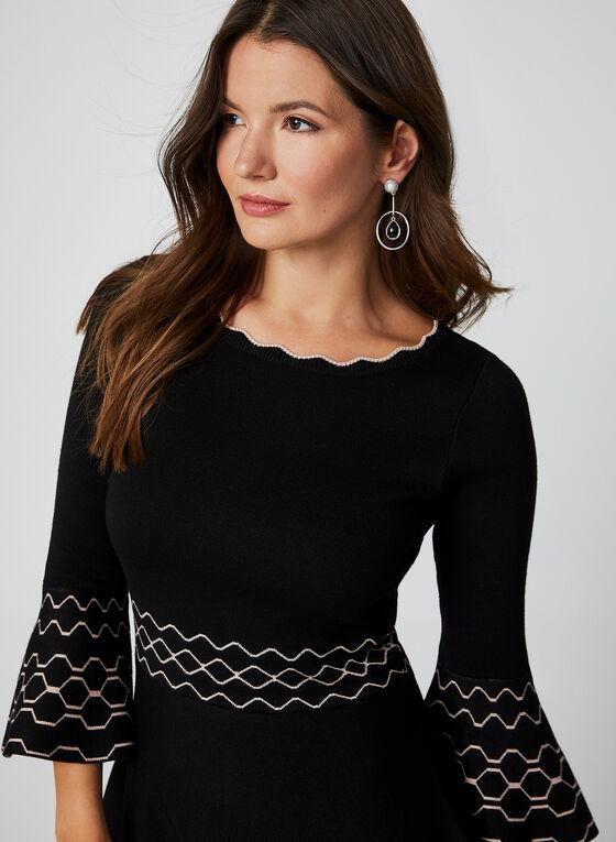 3/4 Bell Sleeve Knit Dress, Black, hi-res